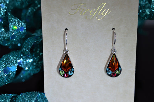 Plated Antique Silver Teardrop Shaped Multicolor Earrings