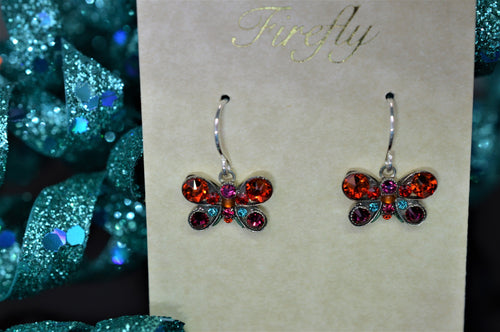 Plated Antique Silver Multicolor Butterfly Earrings