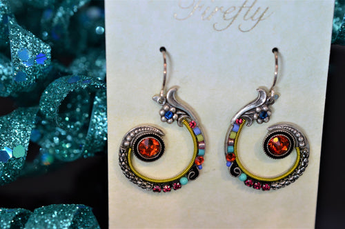 Plated Antique Silver Spiral Earring Multicolor