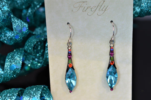 Plated Antique Silver Elongated Drop Earrings Multicolor