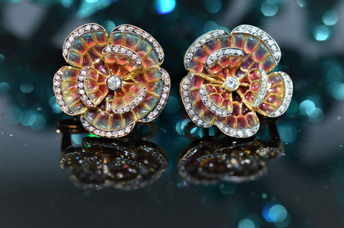 18K Plique-A-Jour Flower Diamond Earrings
