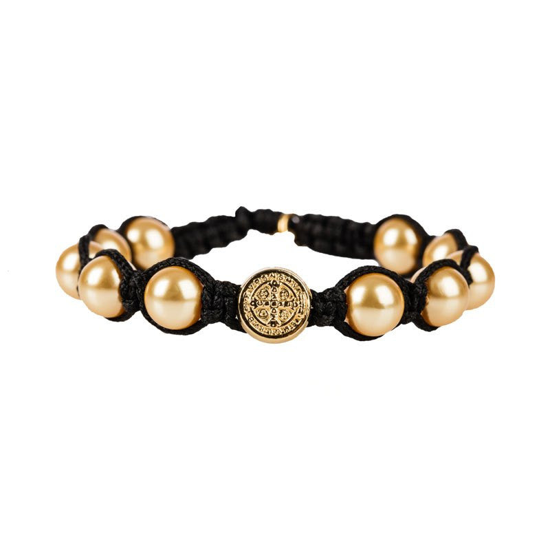 Divine Blessings Gold Pearl Bracelet-My Saint My Hero-Howard's Diamond Center