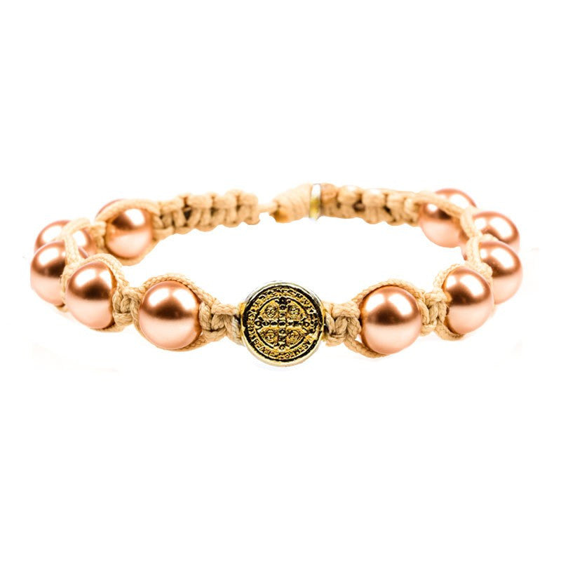 Divine Blessings Rose Gold Pearl Bracelet-My Saint My Hero-Howard's Diamond Center