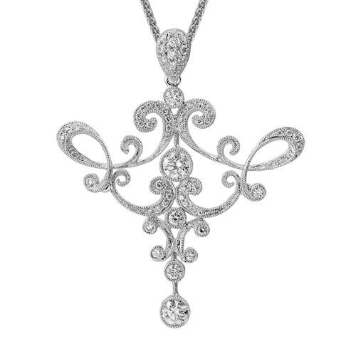 EDWARDIAN FELICITY Pendant in 14K White Gold with Diamonds-Artistry Ltd-Howard's Diamond Center