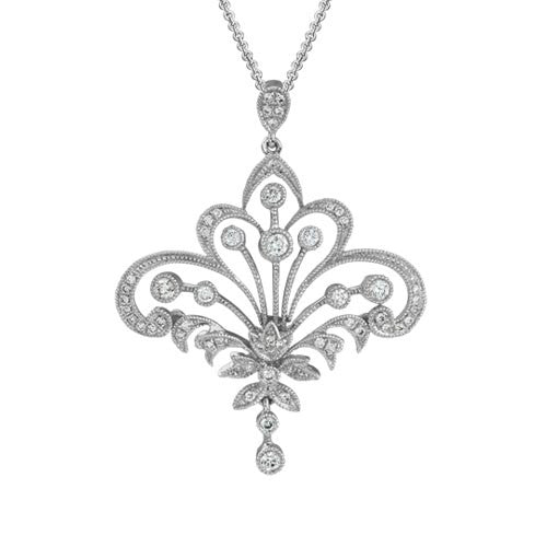 ROYAL ELISE Pendant in 14K White Gold with Diamonds-Artistry Ltd-Howard's Diamond Center