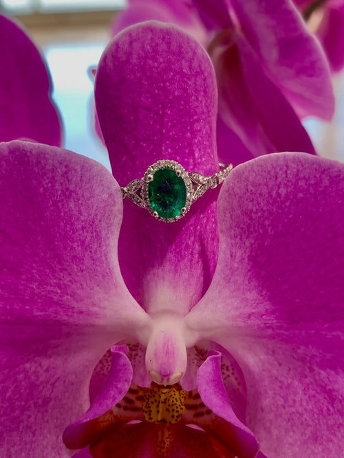 14K Emerald and Diamond Fashion Ring