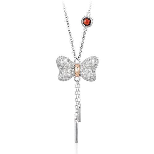 SNOW WHITE BOW DIAMOND LARIAT PENDANT-Howard's Diamond Center-Howard's Diamond Center