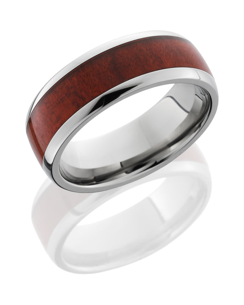 Titanium 8mm Band with Honduras Redheart Wood Inlay-Lashbrook-Howard's Diamond Center