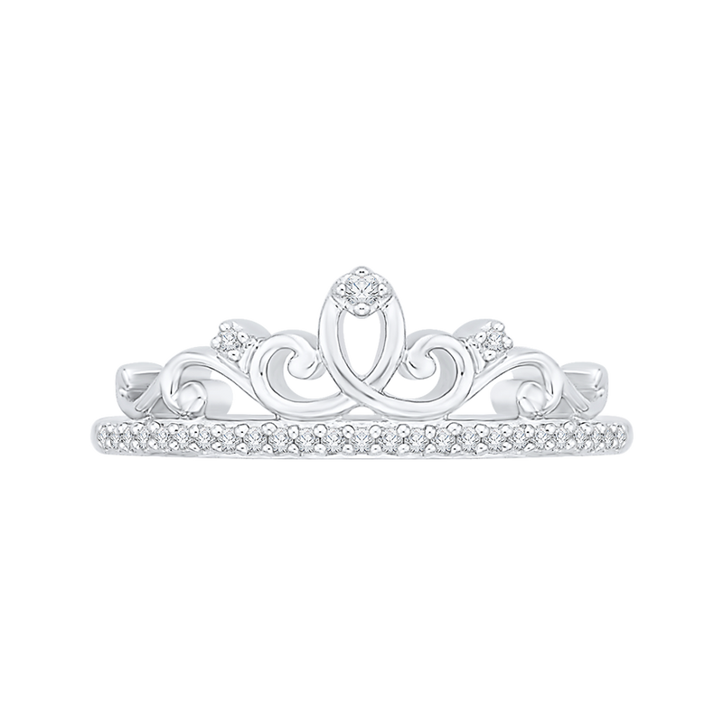 TIARA RING in 10K White Gold with .12 Carats of Diamonds-Shah Diamonds-Howard's Diamond Center