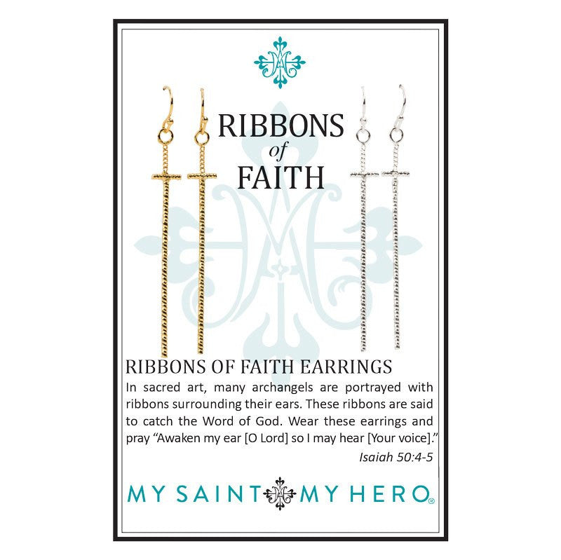 Ribbons of Faith Earrings (set)-My Saint My Hero-Howard's Diamond Center