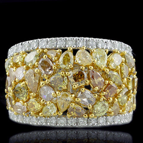 BEAUTIFUL BAND RING with 4.26 Carats of White and Natural Fancy Color Diamonds-Almor Designs-Howard's Diamond Center