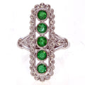 BYGONE ERA 18K White Gold Emerald and Diamond Ring-Almor Designs-Howard's Diamond Center