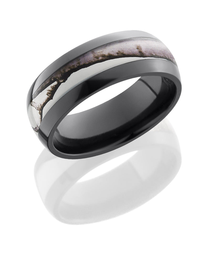 Zirconium 8mm Domed Band with Realtree AP Snow Camo Inlay-Lashbrook-Howard's Diamond Center