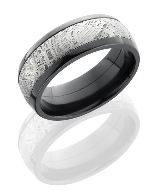 Zirconium Domed Band with Meteorite Inlay-Lashbrook-Howard's Diamond Center