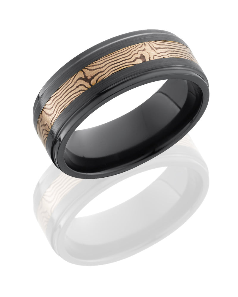 Zirconium Band with 14K Rose Gold and Shakudo Mokume Gane Inlay-Lashbrook-Howard's Diamond Center