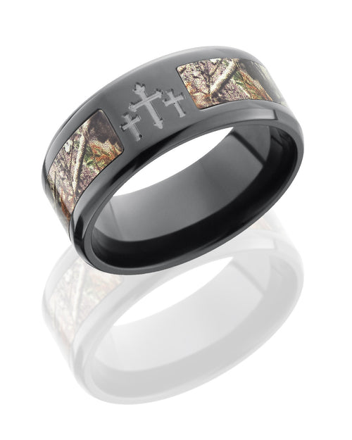 Zirconium 9mm Flat Band with Crosses and Realtree AP Camo Inlay-Lashbrook-Howard's Diamond Center
