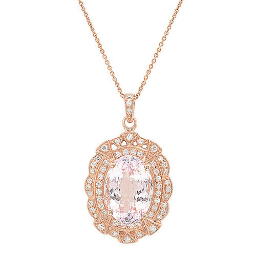 A Ladies 14K Rose Gold Morganite And Diamond Necklace