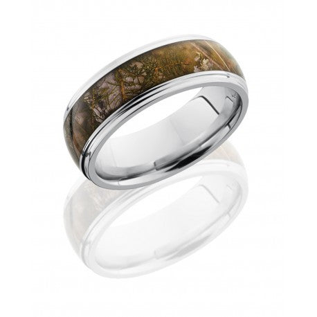 Cobalt Chrome 8mm Domed Band with King's Mountain Shadow Camo Inlay-Lashbrook-Howard's Diamond Center