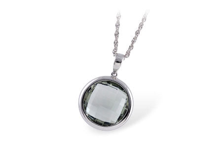 14K White Gold Green Amethyst Pendant
