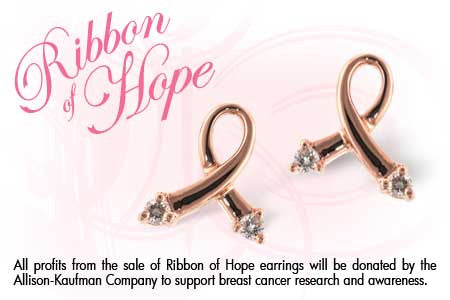 RIBBON OF HOPE 14K Rose Gold and Diamond Earrings-Allison Kaufman-Howard's Diamond Center