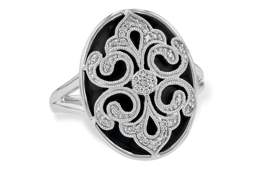 14K White Gold Onyx And Diamond Ring