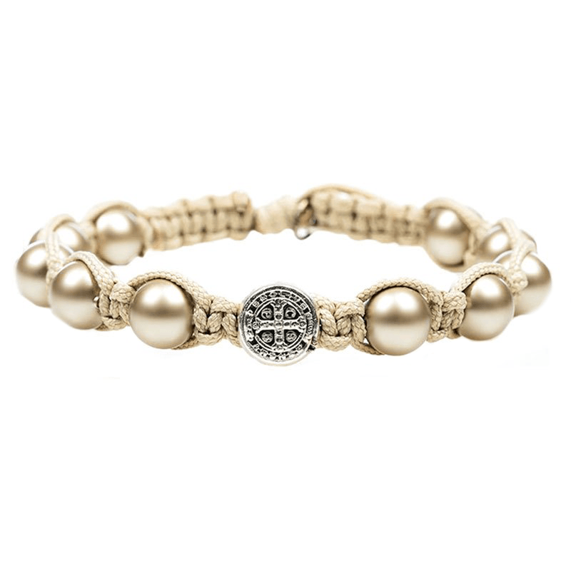 Divine Blessings Platinum Pearl Bracelet-My Saint My Hero-Howard's Diamond Center