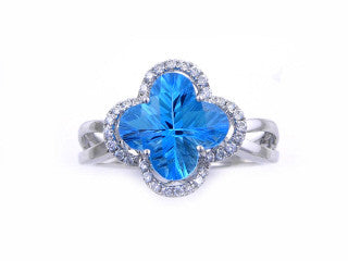 FLOWER CUT BLUE TOPAZ and Diamond Ring-YCH Inc.-Howard's Diamond Center