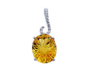 DAISY CUT CITRINE and Diamond Pendant in 14K White Gold-YCH Inc.-Howard's Diamond Center