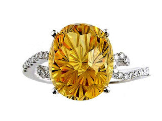 DAISY CUT CITRINE and Diamond Ring in 14K White Gold-YCH Inc.-Howard's Diamond Center