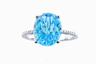 DAISY CUT BLUE TOPAZ and Diamond Ring in 14K White Gold-YCH Inc.-Howard's Diamond Center