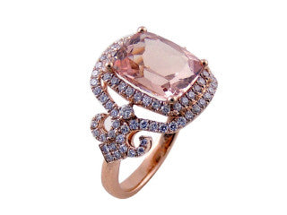 LUXURIOUS MORGANITE Ring in 14K Rose Gold with Diamonds-YCH Inc.-Howard's Diamond Center