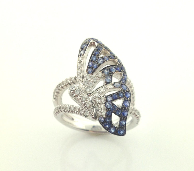 Ladies 18k White Gold Miiori Diamond And Blue Sapphire Butterfly Ring-Howard's Exclusive-Howard's Diamond Center