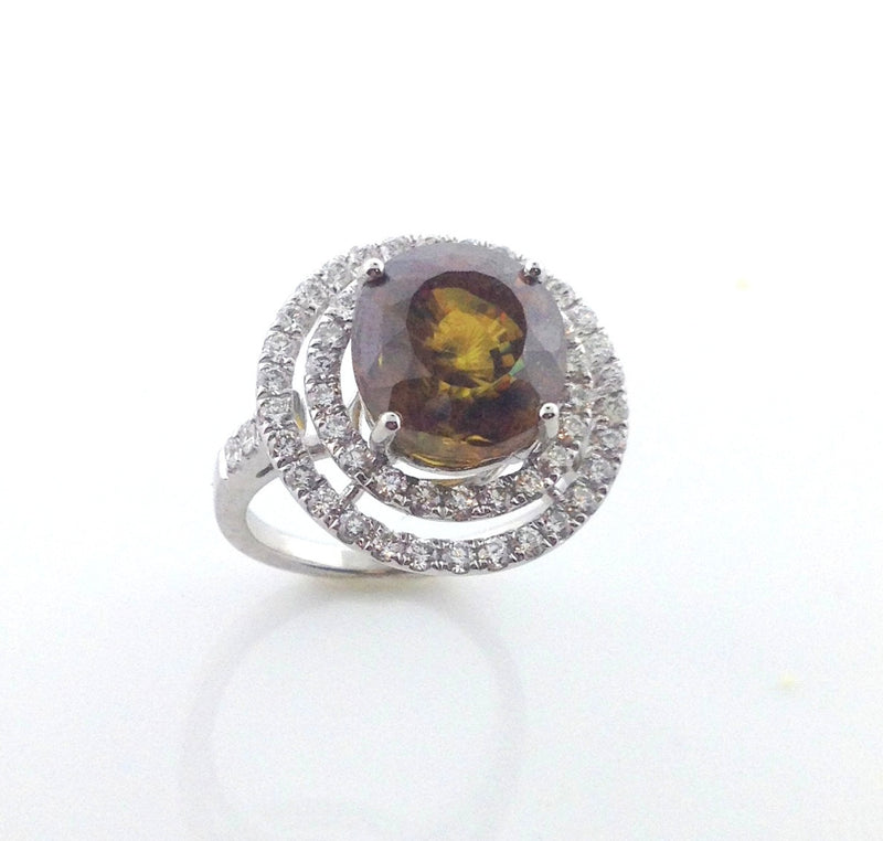 Ladies 18k Sphene and Diamond Ring-Howard's Exclusive-Howard's Diamond Center