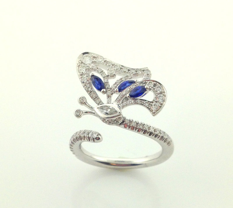 Ladies 18k White Gold Miiori Diamond And Sapphire Butterfly Ring-Howard's Exclusive-Howard's Diamond Center