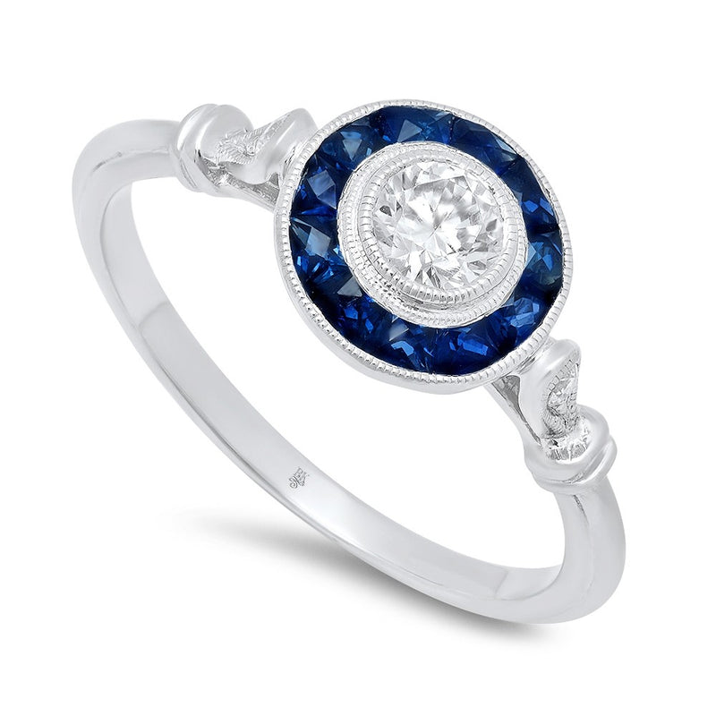 Ladies 14K White Gold Diamond And Sapphire Ring