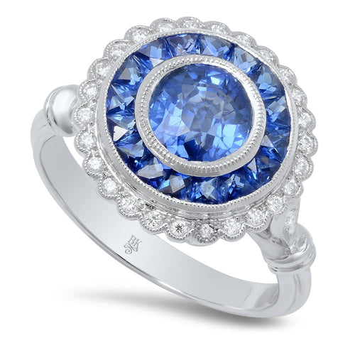 Ladies 18K White Gold Diamond And Sapphire Ring