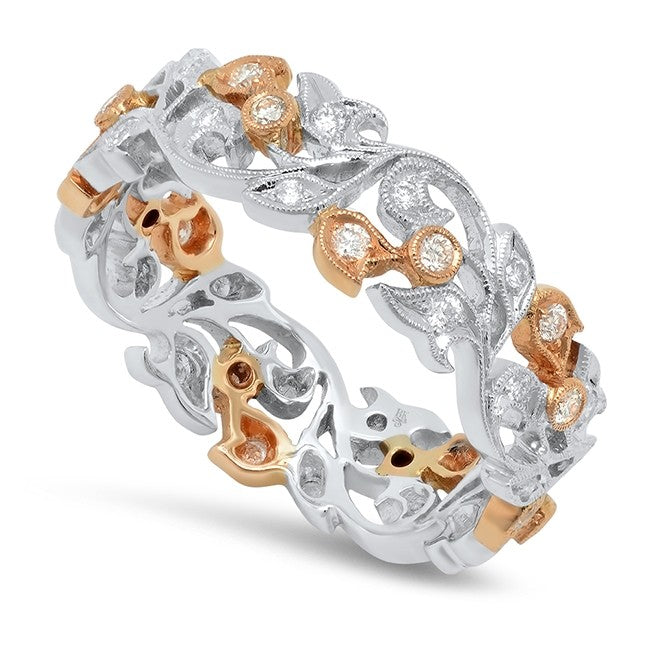 A Ladies 14K White And Rose Gold Wide Diamond Eternity Ring