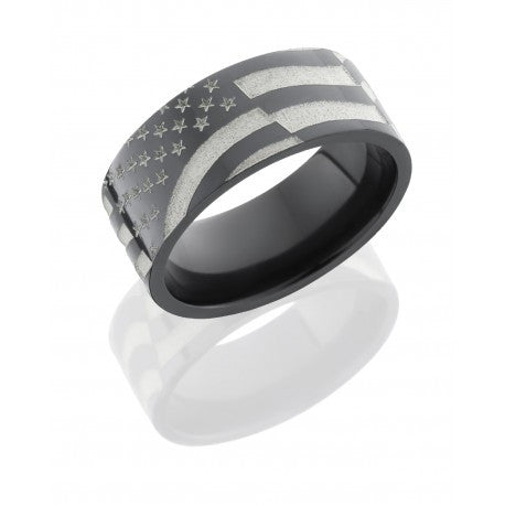 Zirconium 9mm Flat Band with American Flag Pattern-Lashbrook-Howard's Diamond Center