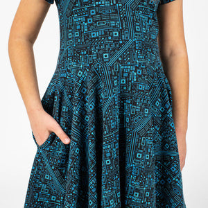 """Up to Code"" Circuits Short Sleeve Super Twirler Dress"