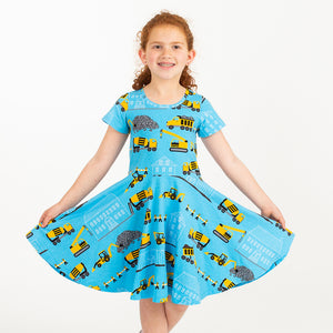 """Groundbreaker"" Construction Trucks Short Sleeve Super Twirler Dress"