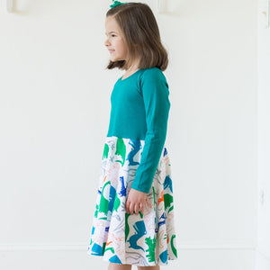 """Mesozoic Mischief"" Dinosaurs Twirly Play Dress with Long Sleeves"