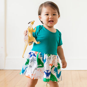 """Mesozoic Mischief"" Dinosaurs Snapsuit Dress"