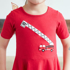 Fire Truck & Flames Ballerina Style Short Sleeve Dress