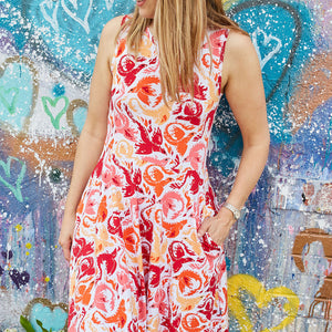 """Fire Borne"" Phoenixes Knee-Length Stretchy Sleeveless Dress - Adult"