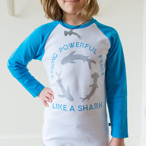 """Strong, Powerful Fierce"" Sharks Youth Raglan Shirt"