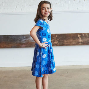 """Blueberry Pi"" Math Dots Short Sleeve Super Twirler Dress"