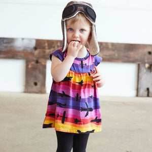 """Twilight Takeoff"" Sunset Airplanes Infant Dress"