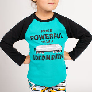 """More Powerful Than a Locomotive"" Raglan Shirt"