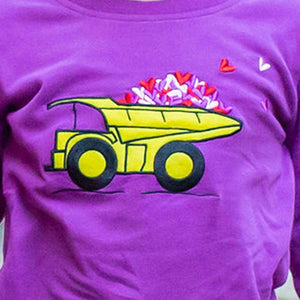 """Full of Love"" Hearts Dump Truck Shirt with Long Sleeves"