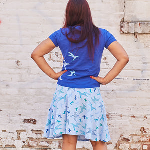 """PteroSOARS"" Flying Dinosaurs Stretchy Knee-Length Twirly Skirt - Adult"